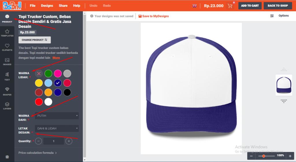desain topi online