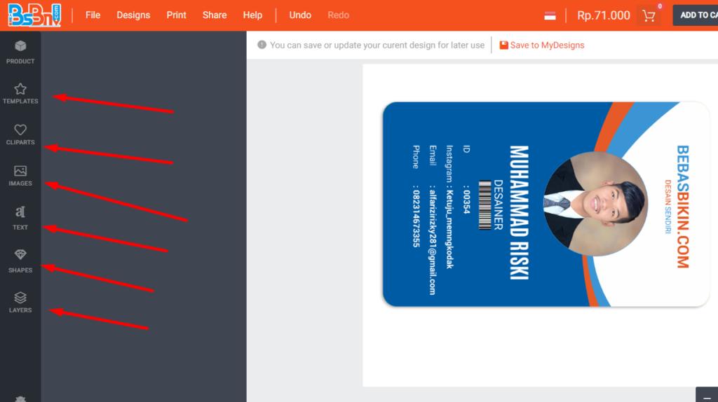 contoh desain id card