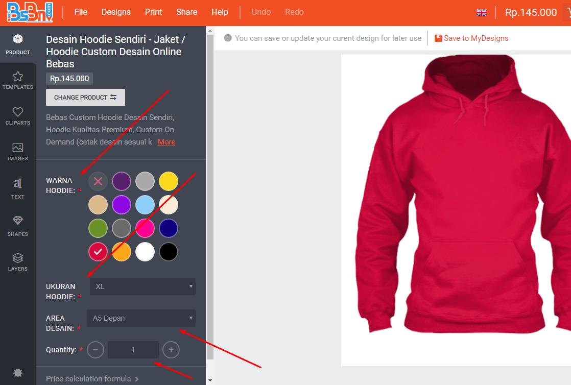 ukuran hoodie dan warna hoodie